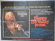 Happy Birthday to Me, Original UK Quad Horror Poster, Melissa Sue Anderson, Glenn Ford, '81